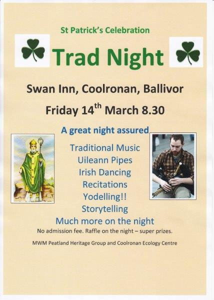 Trad Night Swan Inn Fri 14th March at 8:30pm onwards